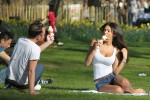 Georgia Salpa - Cleavage While Eating Ice Cream At A Park In London 28th March 2012